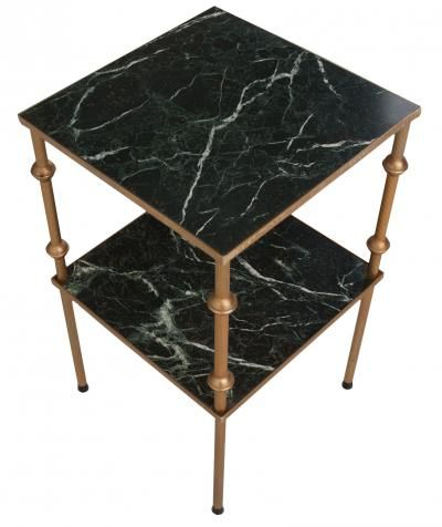 French Vintage Green Marble Veneer Brass Tier Side Table Antique French Furniture Green Marble French Antiques
