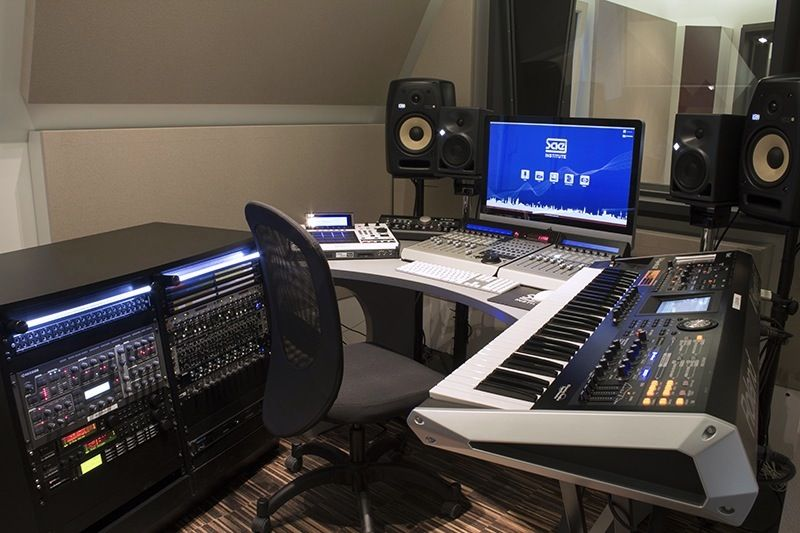 music studio with Mackie Control