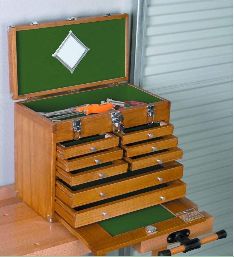 Art Crafts Carpenter Machinist Storage Craft Work Carving Box Wood Tool Chest
