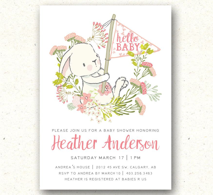 Baby Shower Invitation, Bunny Baby Shower Invitation, Floral Baby ...