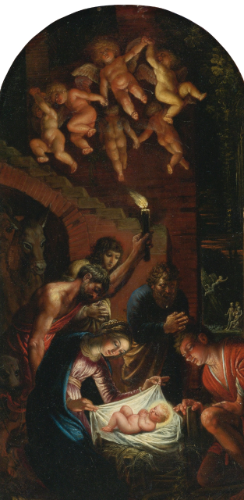 "CIRCLE OF ADAM ELSHEIMER. ADORATION OF THE SHEPHERDS. oil on copper. 30,4 × 15,4 cm. Signed: "" T.V. "" on the reverse. Sotheby's. New York. Old Master Paintings. 30/01/2014. Lot 41. Estimate: 80.000/120.000 $."
