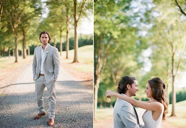 Elegant Virginia Outdoor Wedding Groom Style Summer Suit