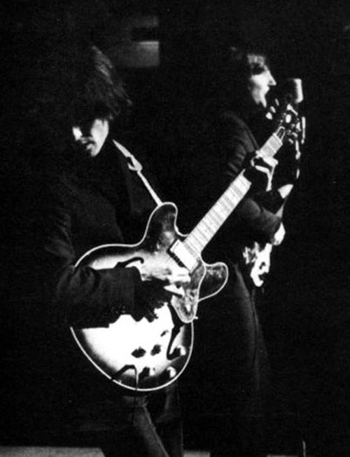 george harrison and john lennon on stage in sheffield during the beatles final beatles in. Black Bedroom Furniture Sets. Home Design Ideas