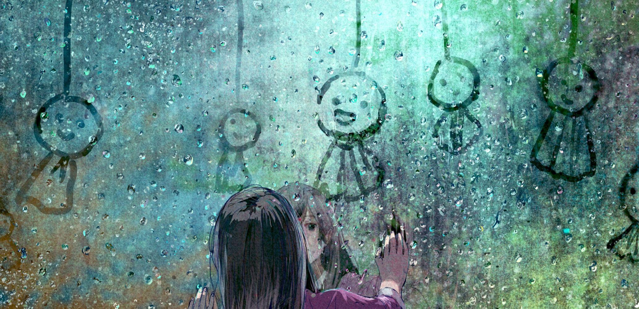Anime Girls Original Characters Rain Black Hair Window Wallpaper Anime Artwork Wallpaper Anime Wallpaper Anime Artwork
