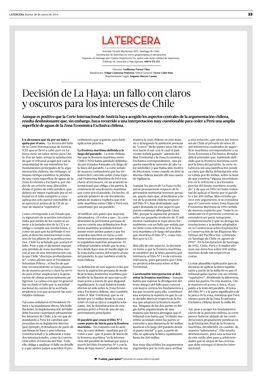 28.01.14: Decisión de La Haya: un fallo con claros y oscuros para los intereses de Chile | Opinión | La Tercera Edición Impresa