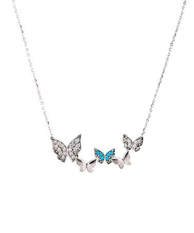 Another great find on #zulily! Cubic Zirconia & Turquoise Butterflies Necklace #zulilyfinds