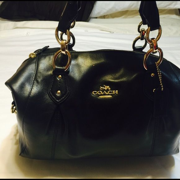 Coach purse Authentic coach purse. Hobo style black leather with gold hardware. Excellent  condition.  No trades purchase deals only Coach Bags Shoulder Bags