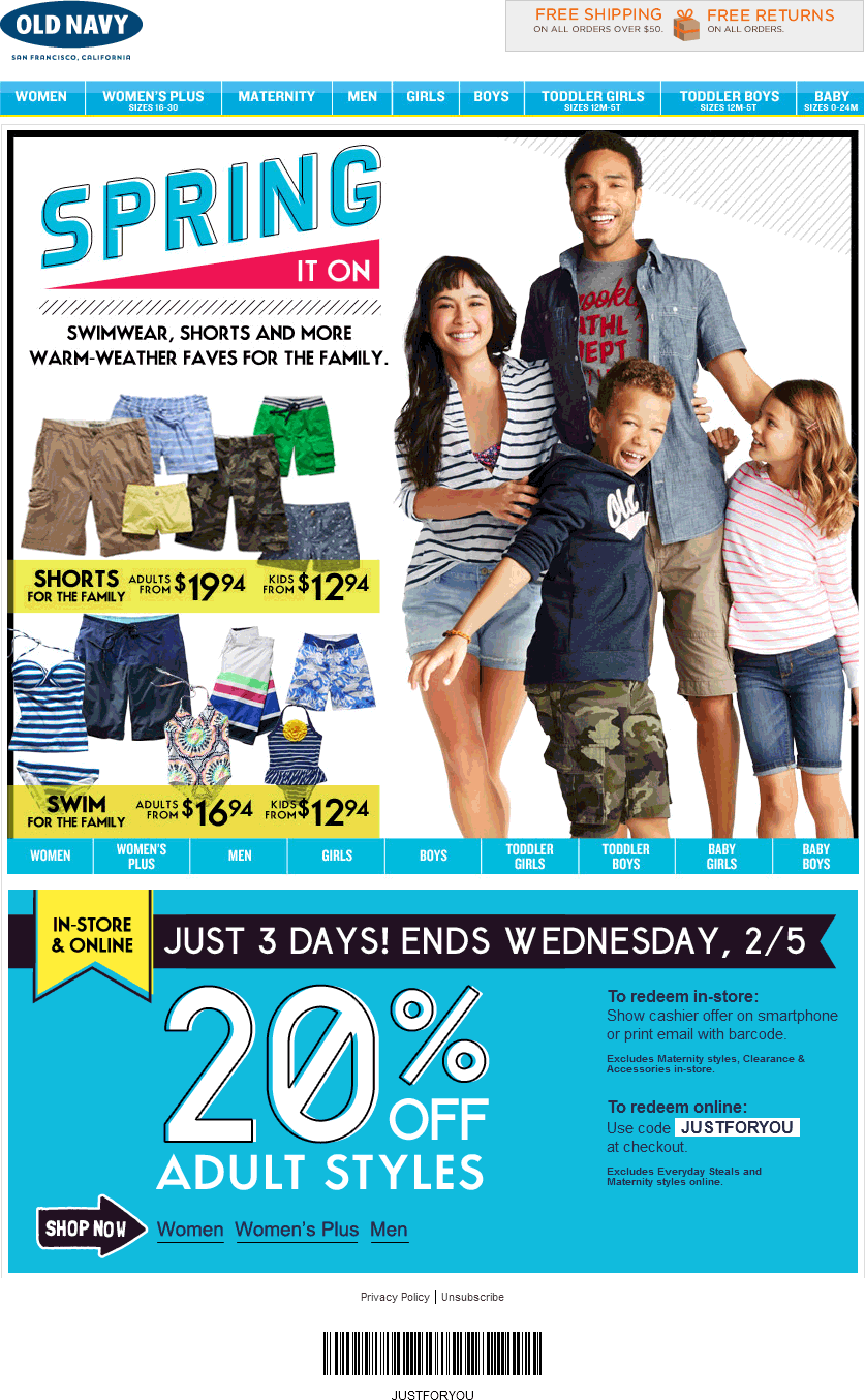 Pinned February 3rd 20 Off Adult Styles At Old Navy Or Online Via Promo Code Justforyou Coupon Via The Coupons Ap Coupon Apps Old Navy Coupon Saving Money
