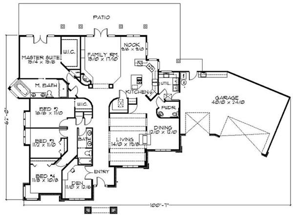 feng shui ranch house floor plans floor plans home plan 149 1470 main elevation floor - Ranch Floor Plans