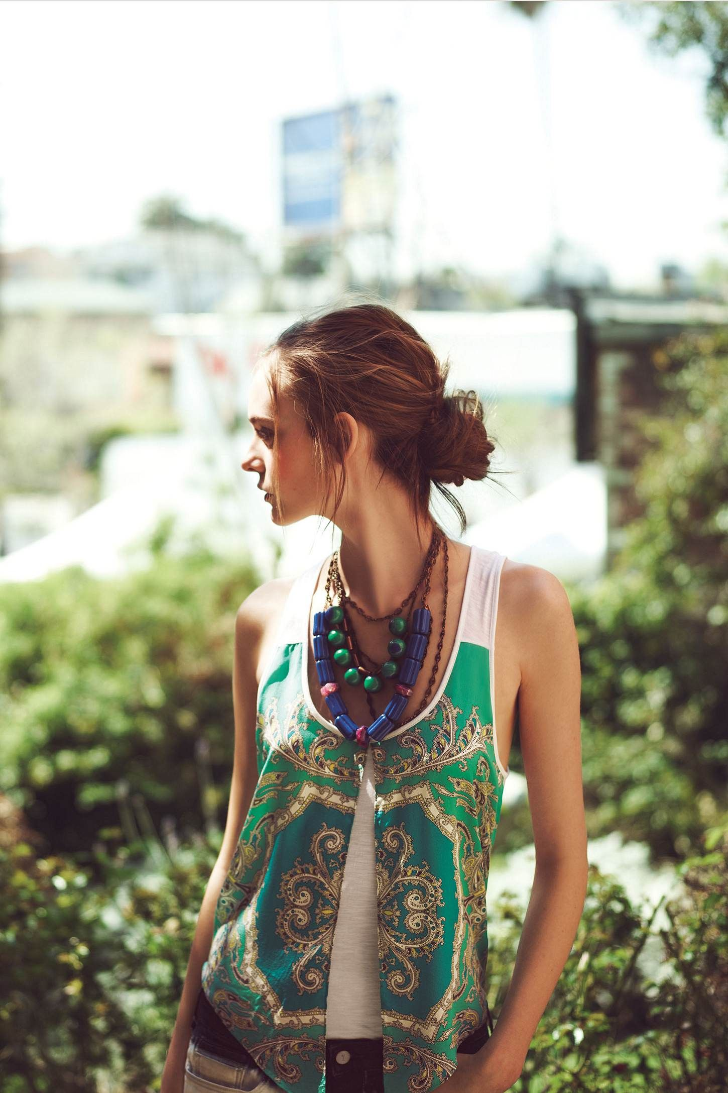 Anthropologie Inspiration - repurposed scarf sewn onto t-shirt tank
