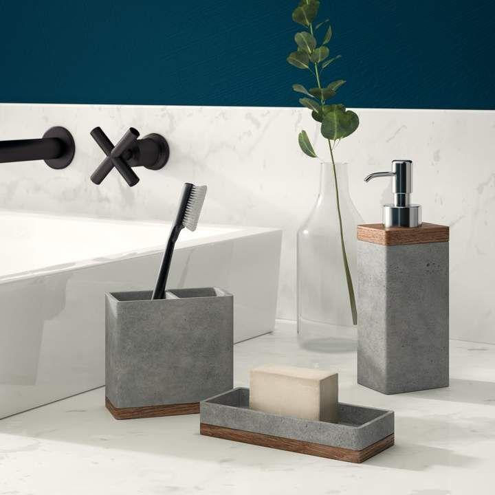Photo of Stonington Concrete Stone 3 Piece Bathroom Accessory Set | Joss & Main
