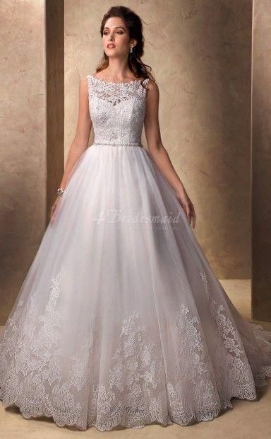 Trumpet/Mermaid Bateau Sleeveless Chic and Modern Lace,Tulle,Satin Floor-length Church Wedding Dresses(SCW304)