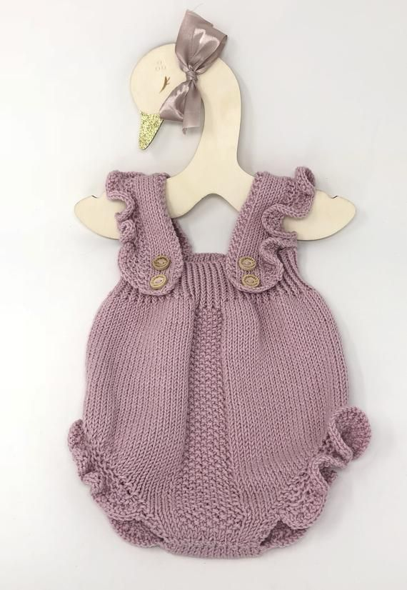 518a1314ae0 Baby Girl Knitted Romper with ruffles