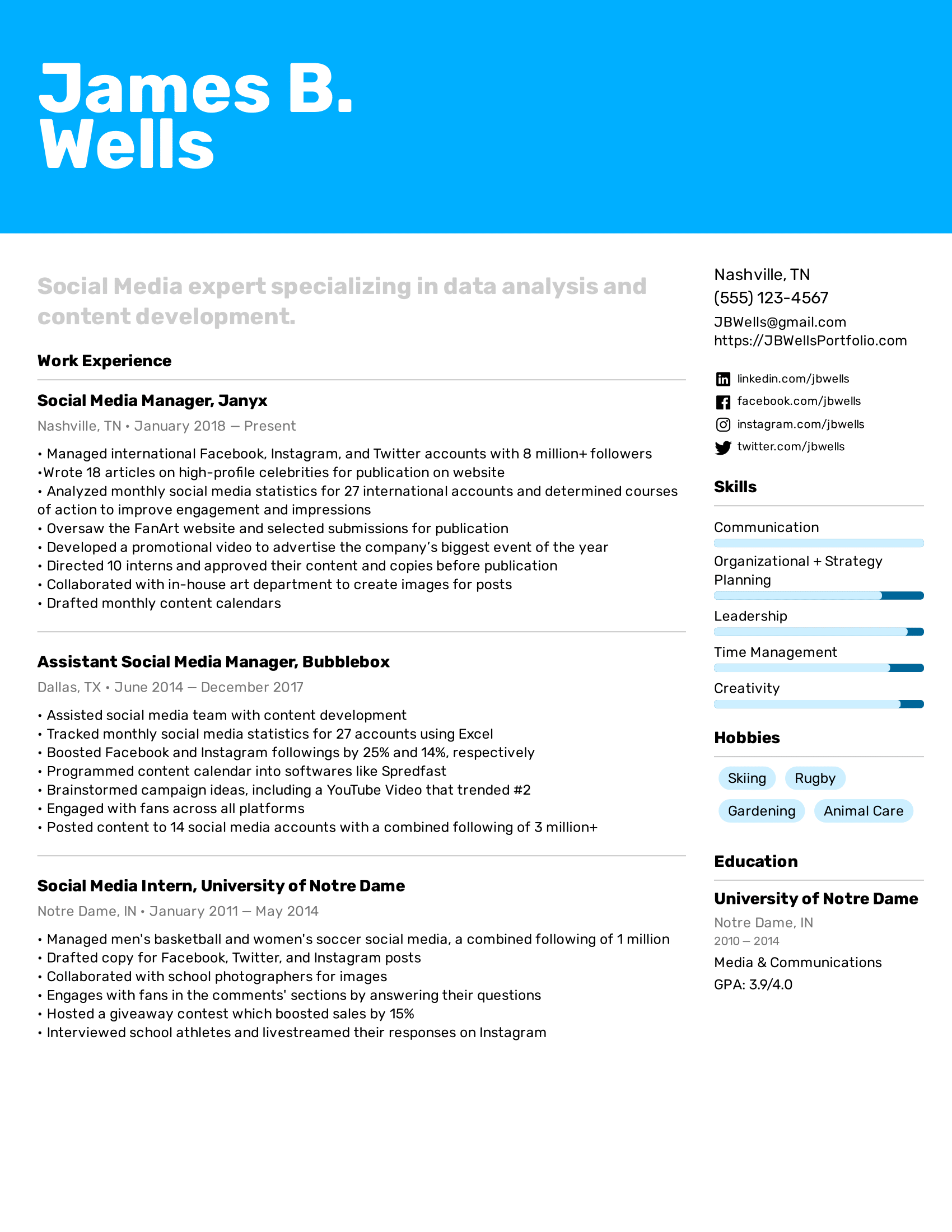 Social Media Manager Resume Example in 2020 Resume
