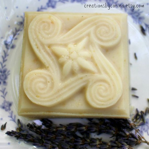 Goat milk soap with lavender essential oil and calendula-infused olive oil - celtic pattern