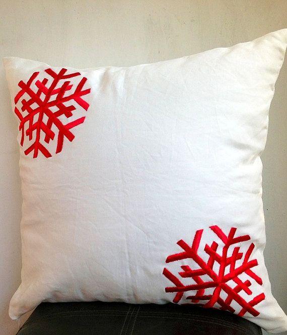 Holiday Sale Snowflakes Christmas Cushion Cover Holiday Pillow On Etsy 24 00 Christmas Cushion Covers Christmas Cushions Holiday Pillows