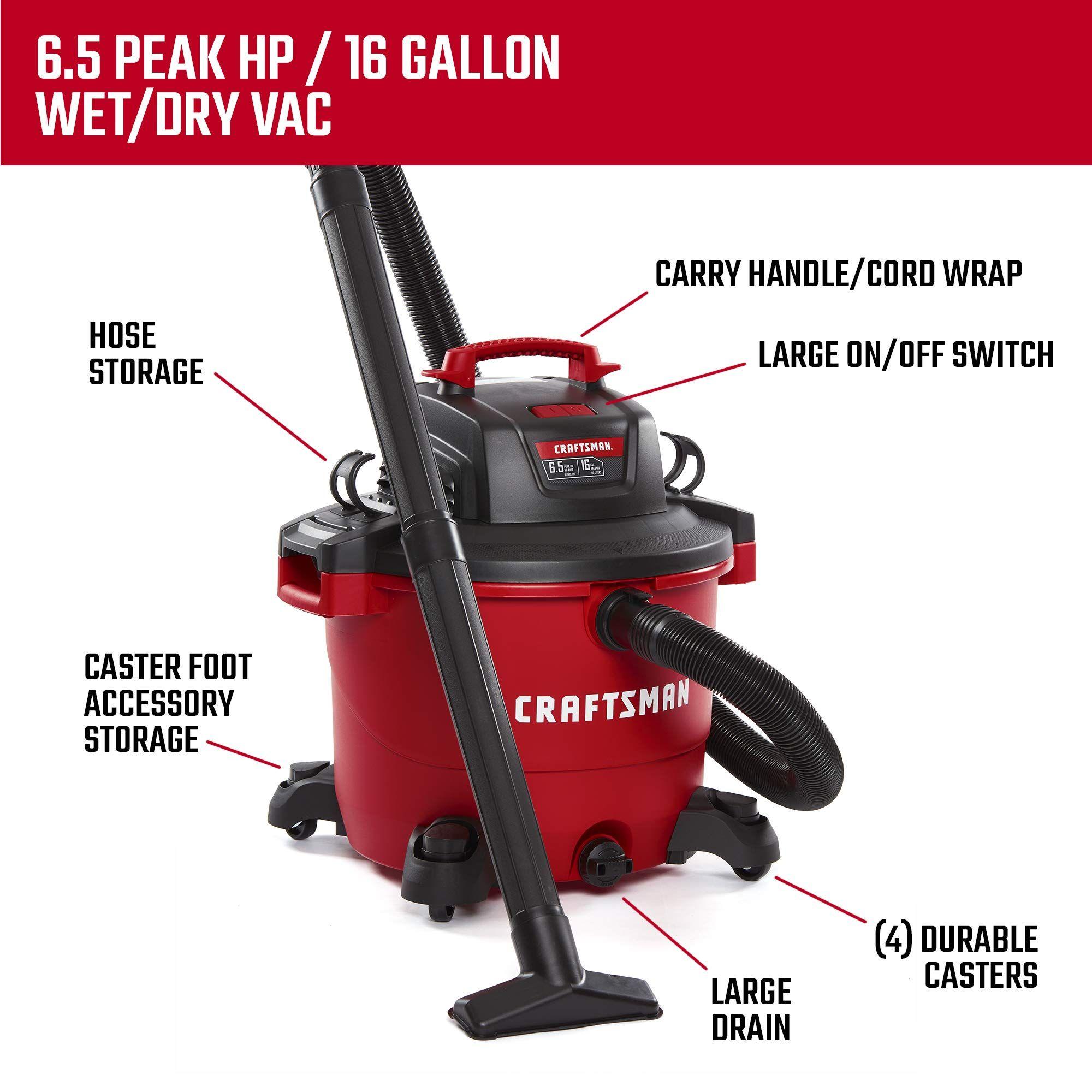 Craftsman Cmxevbe17595 16 Gallon 6 5 Peak Hp Wet Dry Vac Heavy