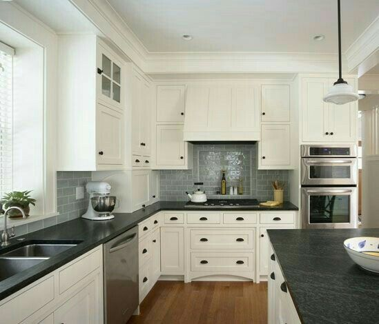 Kitchen Backsplash Same As Countertop: White Cabinets, Gray Subway Tile Backsplash, Dark Counters