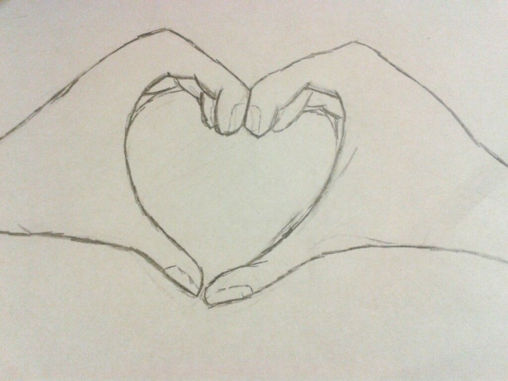 pix for u003e pencil drawing of hands making a heart art stuff u003c3