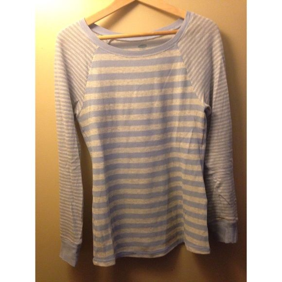 striped thermal baby blue and heather gray striped thermal top with raglan sleeves Old Navy Tops Tees - Long Sleeve