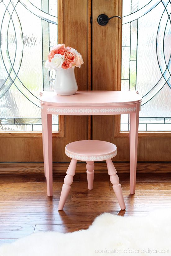 Little Girlu0027s Vanity Set From An Antique Side Table And Stool.  Confessionsofaserialdiyer.com