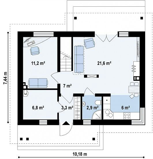 Casa pequena moderna 3 quartos