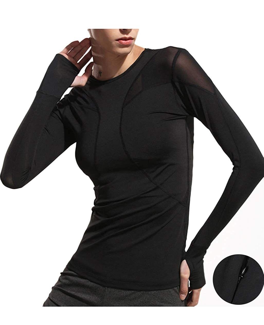Girls Tops Long Sleeve Shirts Hoodies Outdoor Performance Workout Active Running Shirt
