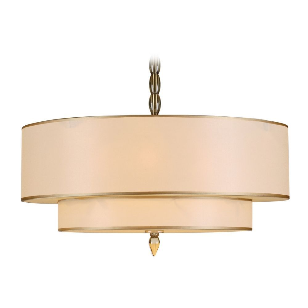 Drum Pendant Light With Gold Shades In Antique Brass Finish Drum Pendant Lighting Drum Shade Chandelier Brass Pendant Light