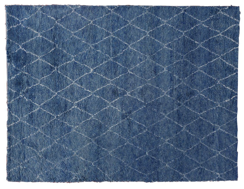 Moroccan Geometric Hand Knotted Wool Blue Area Rug Blue Area