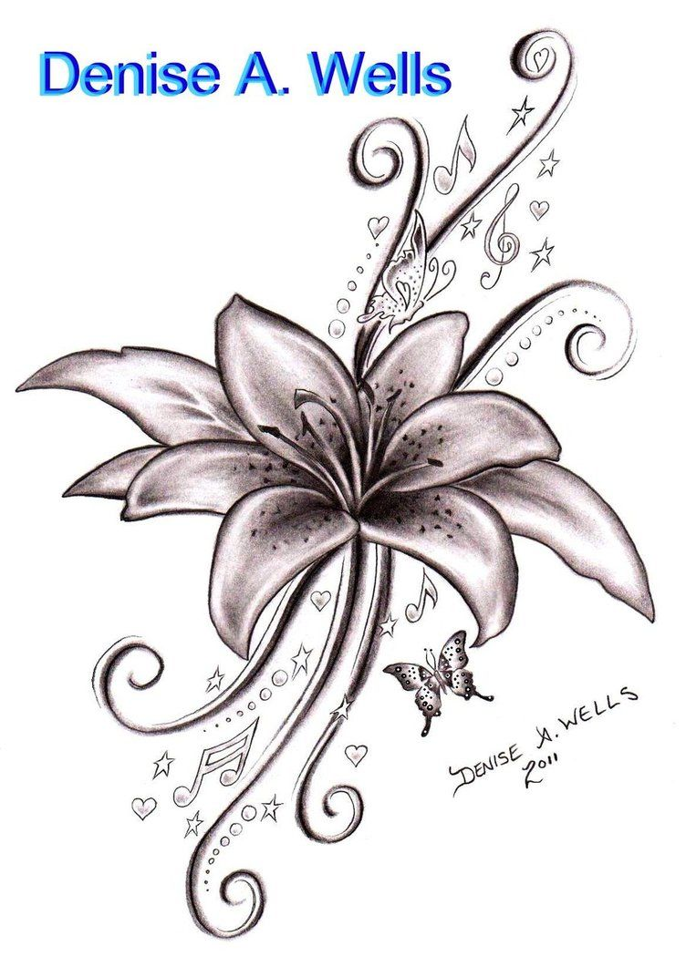Lily song tattoo design by denise a wells ink pinterest