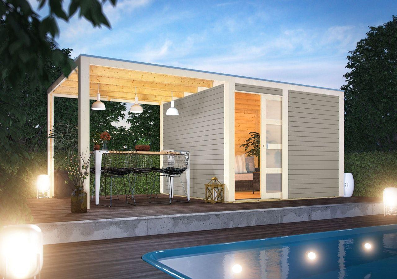 Karibu Gartenhaus Qubic 2 mit Schiebetür und 270 cm