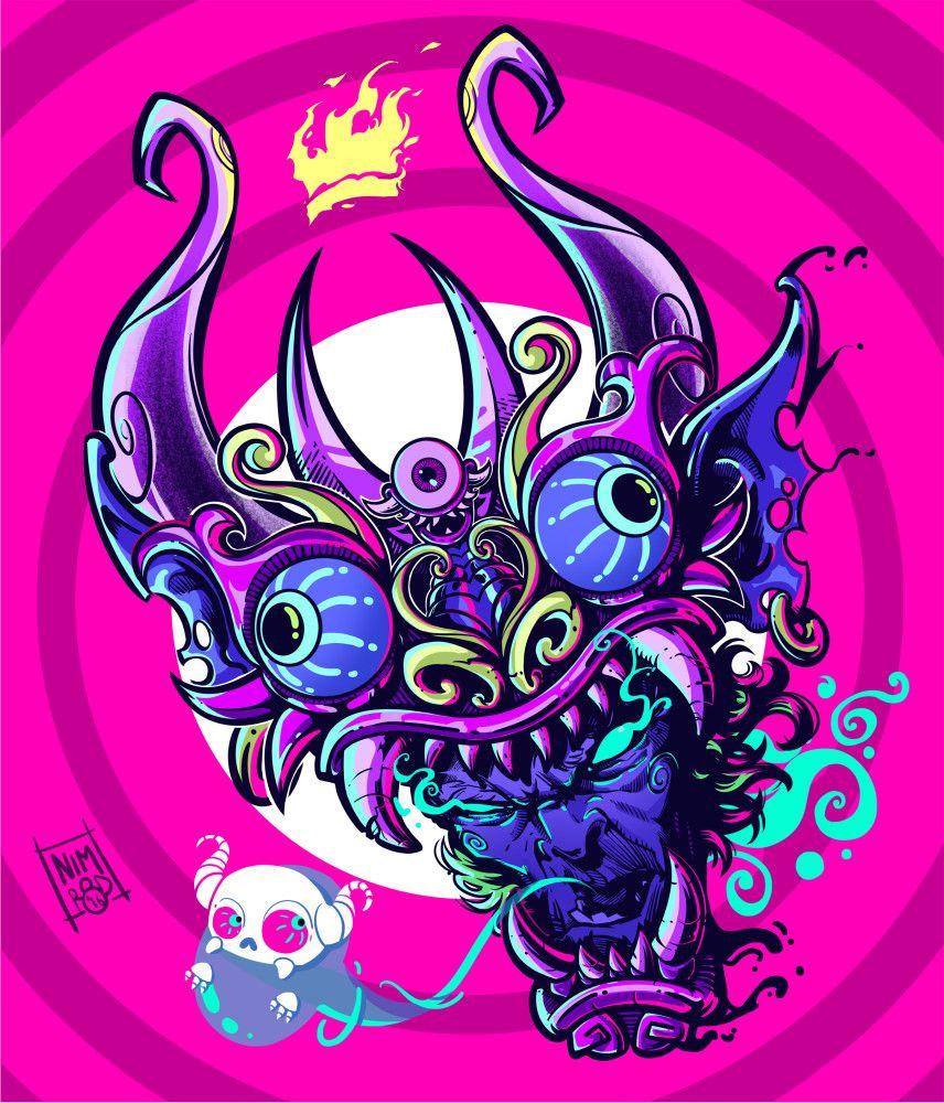 Diablada head 2 0 bolivia anime horror art peru stickers cartoon