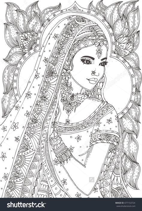 Beautiful Indian Woman Zendala Coloring Page Shutterstock 477153724
