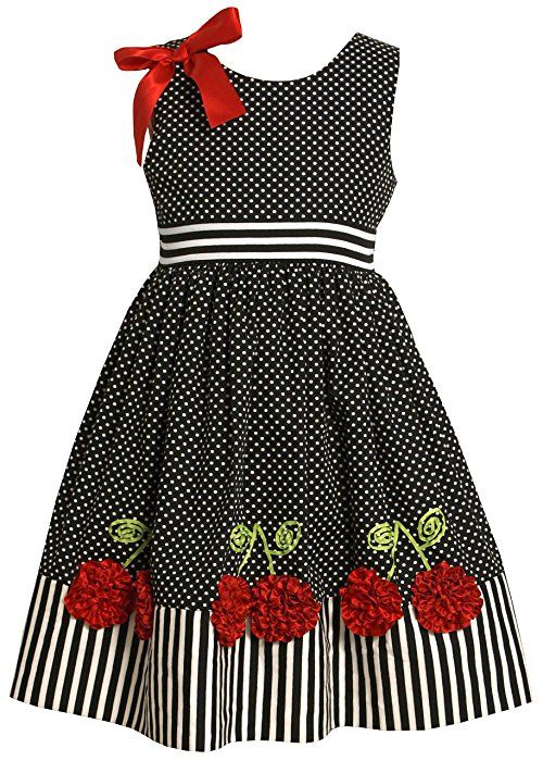 Bonnie Jean Little Girls' Dress With Dots And Stripes