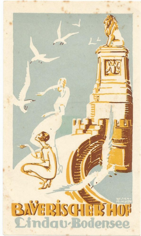 HOTEL BAUERICHER HOF luggage label (LINDAU-BODENSEE) - Glamorous Ladies, Seagulls