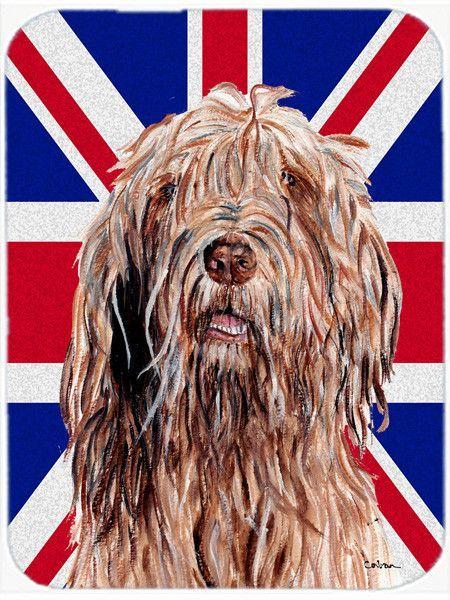 Otterhound with English Union Jack British Flag Glass Cutting Board Large Size SC9878LCB
