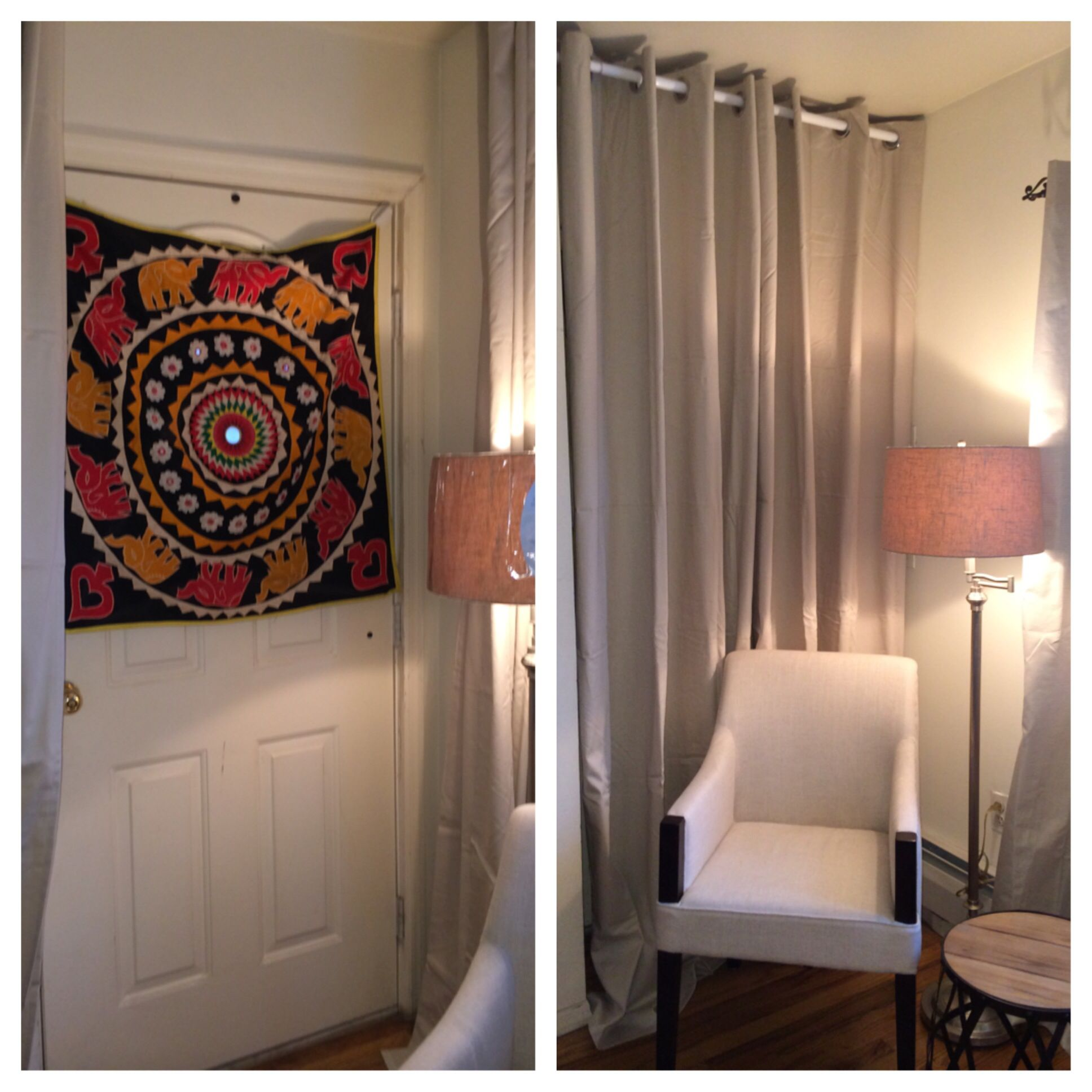 Hide An Unwanted Door With A Tension Rod And Curtains That Match The Wall.