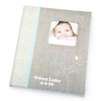 Personalized linen embroidered baby memory book things personalized linen embroidered baby memory book things remembered negle Choice Image