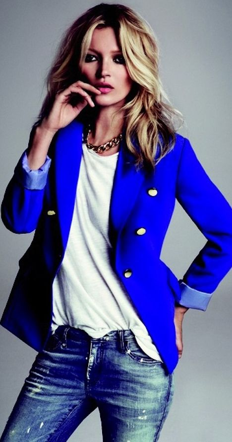 Denim and jeans / karen cox.  denims and cobalt blue blazer