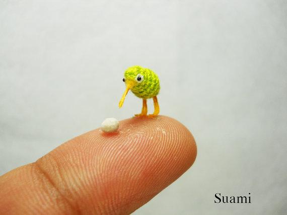 Tiny Green Kiwi With Egg - Micro Crochet Miniature Kiwi Birds - Made ...