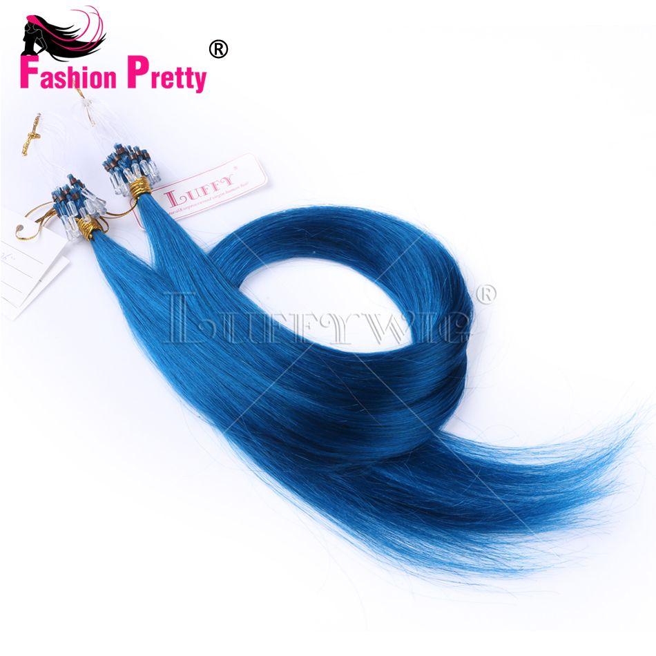 Virgin Micro Loop Hair Extensions Blue Color Brazilian Straight