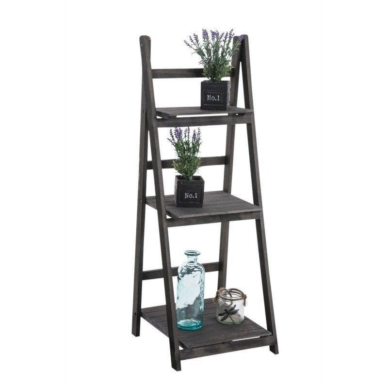 echelle tag re plante d coration vintage en bois marron fonc vieilli 3 niveau meuble. Black Bedroom Furniture Sets. Home Design Ideas