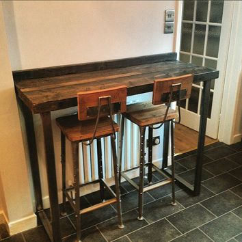 Reclaimed 4 Seater Chic Tall Poseur Table Wood Metal Desk Dining Bar Cafe Resturant Tables Steel Hand Made Bespoke