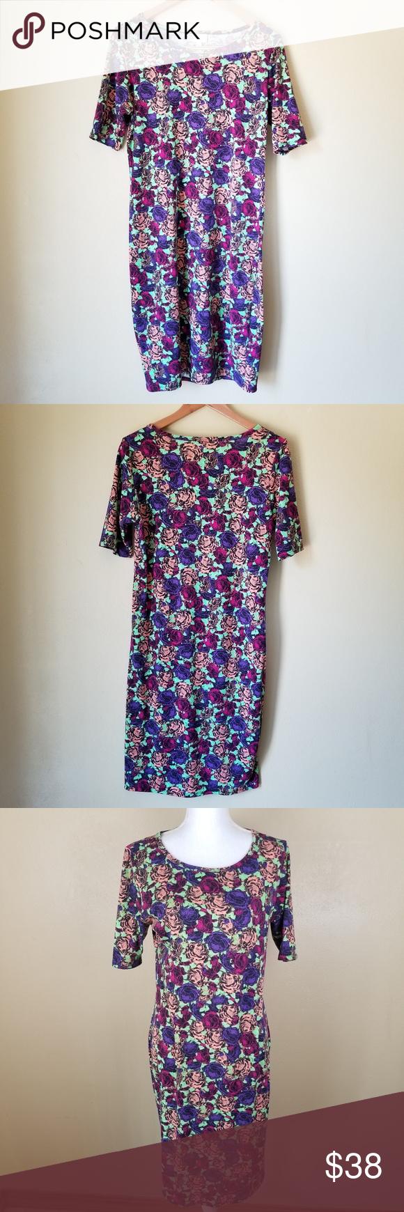 LuLaRoe Julia Floral Purple Green Midi Dress LG I have here this super cute  purple ab66a1882