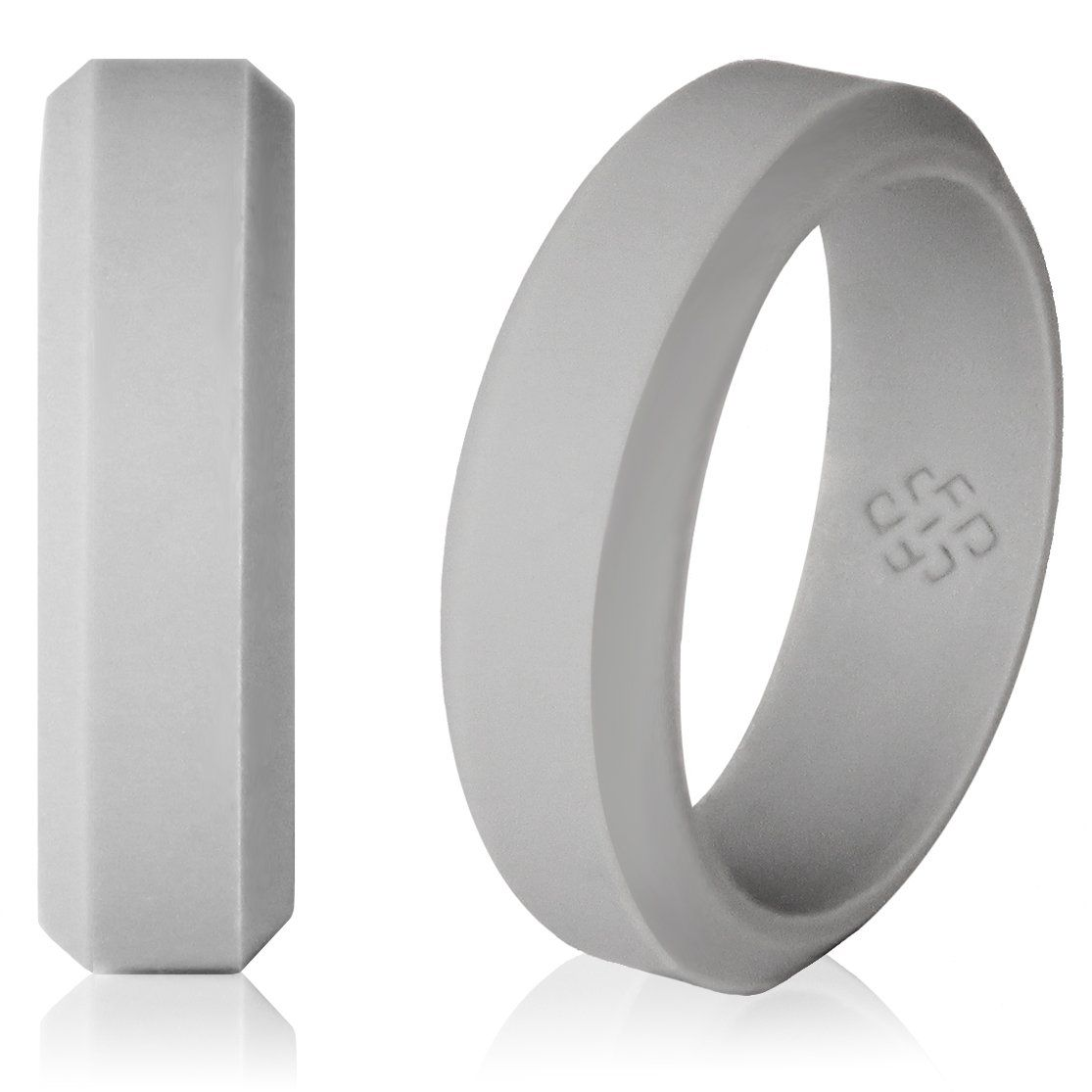 Light Gray Silicone Wedding Ring! Modern Beveled Design #cloud9 #gray #grey