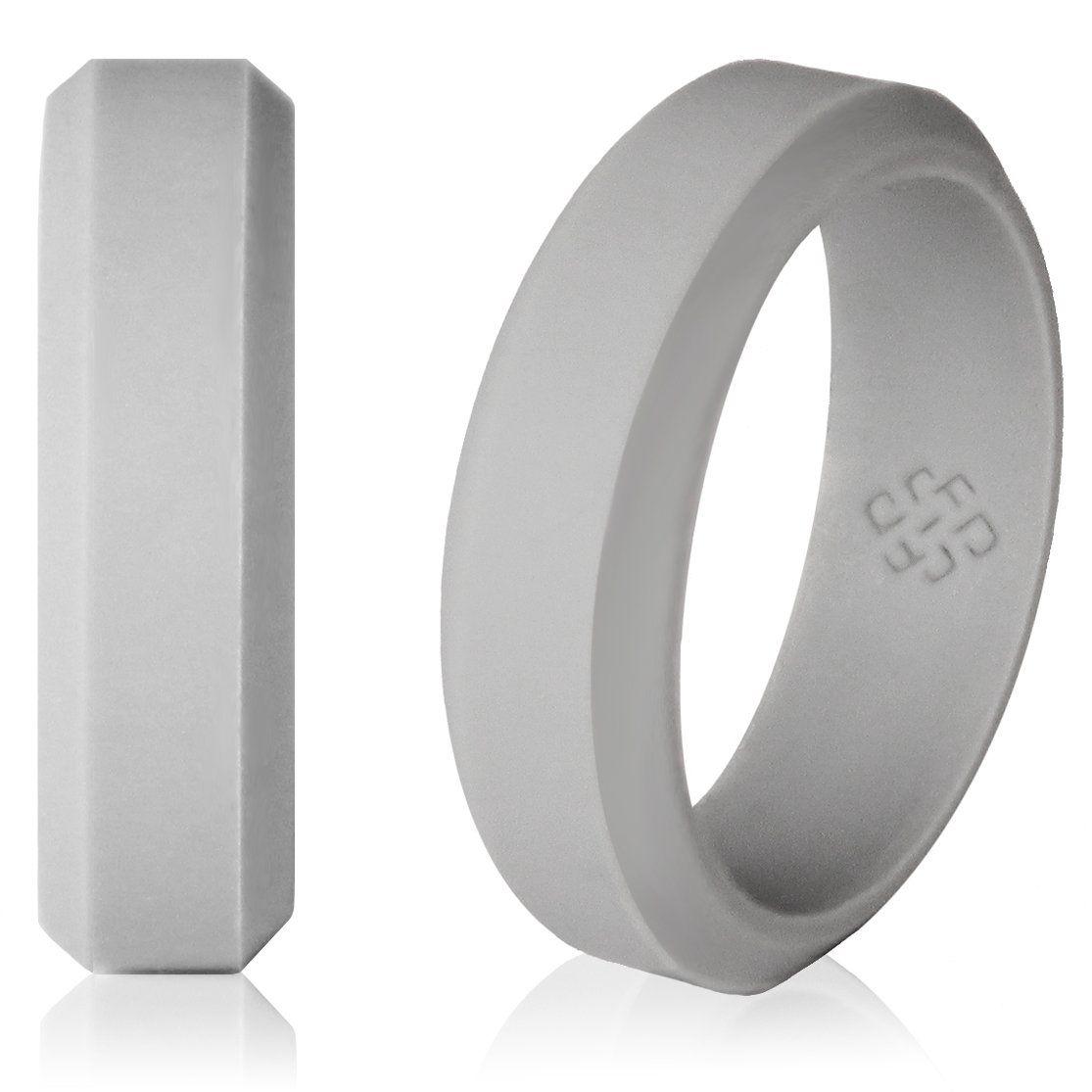 Light Gray Silicone Wedding Ring! Modern Beveled Design