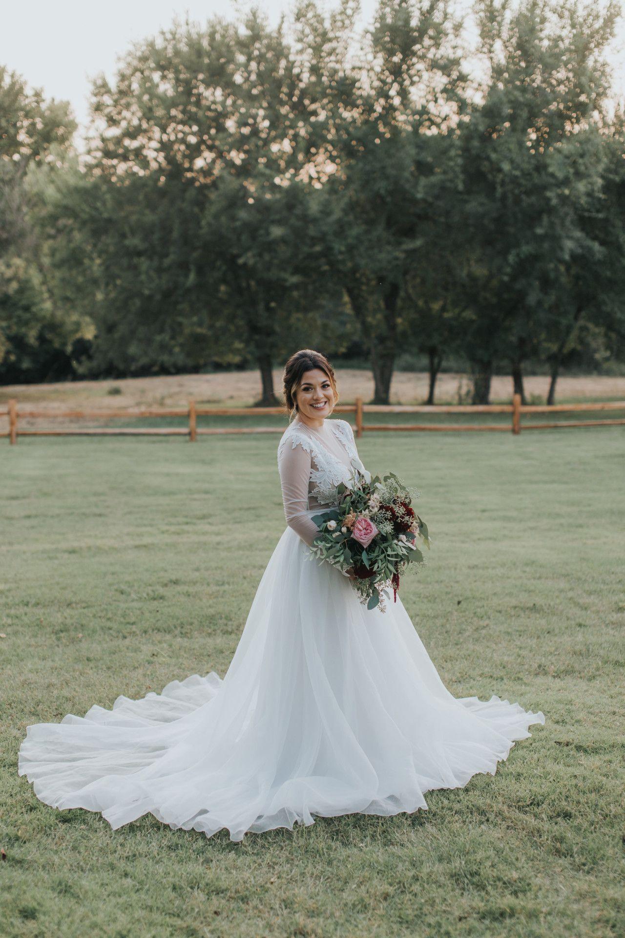 Long sleeve wedding dress sheer wedding gown bohemian wedding
