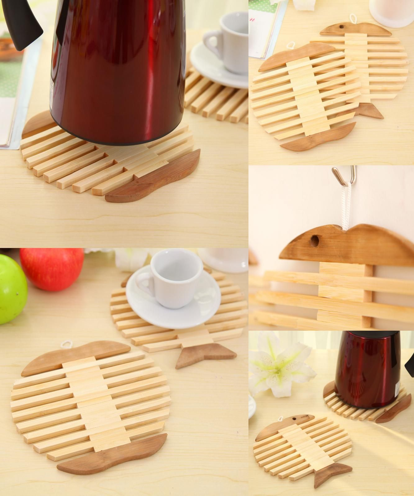 [Visit to Buy] Mat Q exquisite bamboo bowl kitchen pad Apple fish type  coasters cup holder insulated against hot tea pot mat