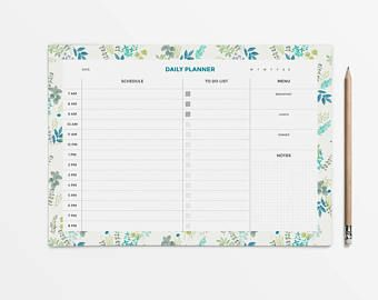 Floral Planner Printable Daily Desk Pad Student Schedule