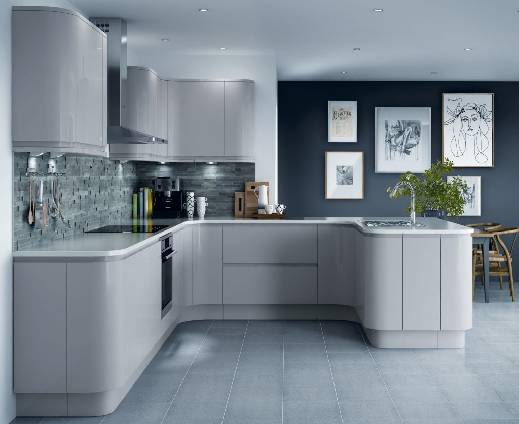 Gloss Cashmere & Grey Acacia Units, Siemens Appliances & Crystal ...